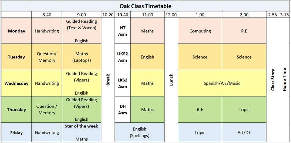 Oak Class Timetable - Autumn 2021