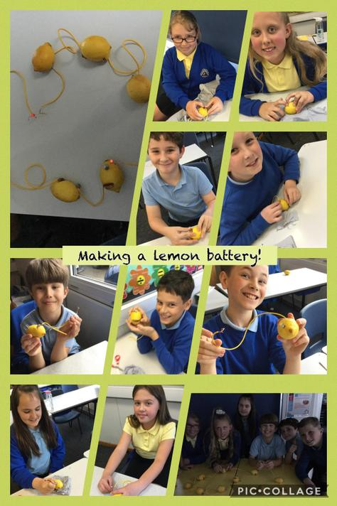 We used copper, zinc and lemons to create a battery which powered 3 LED lights!