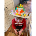 Wow! Just look at Ethan's Easter bonnet.