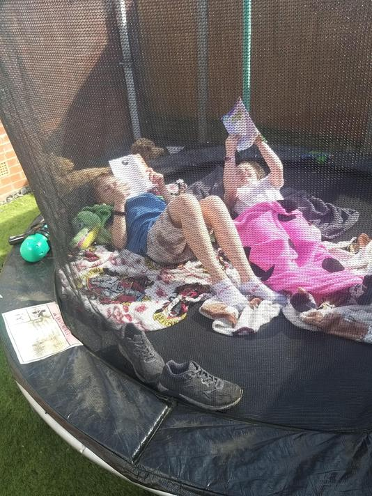 Louis and his sister reading on the bounce!