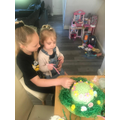 Evie W made an Easter Bonnet with her sister.