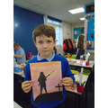we created a sunset background and used a silhouette of a soldier.
