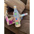 Ethan made a musical instrument.