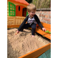 Ethan has been playing outside and in his sand pit