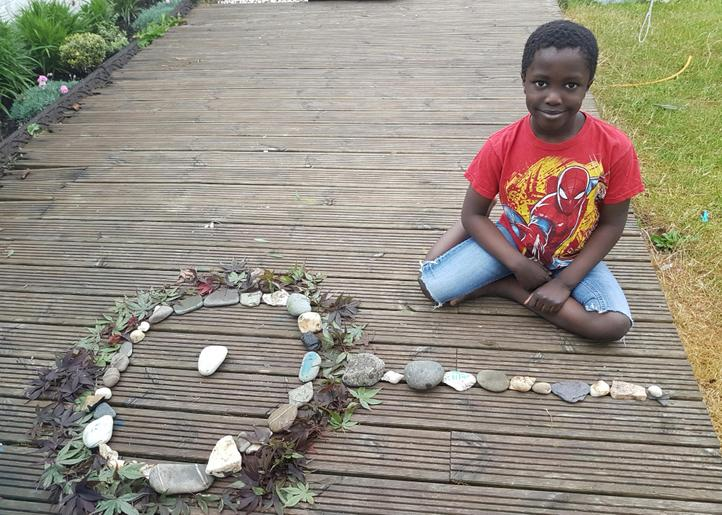 Morire's garden art, inspired by Andy Goldsworthy