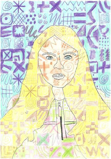 Neve's excellent Chuck Close-inspired portrait