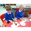 We decorated our Roald Dahl inspired cakes.