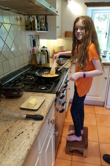 Ellie creating her healthy snack!