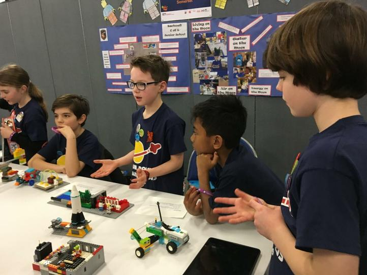 Explaining our Moon Base to the Lego judges.