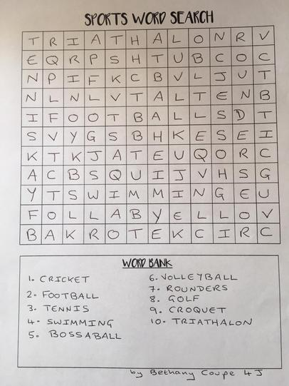 Bethany's sports word search - Have a go!