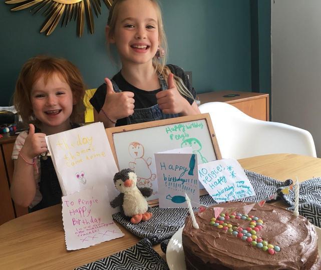 Roxie and Summer celebrating 'World Penguin Day!'