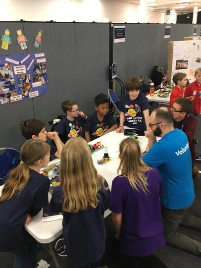 Explaining our Moon Base to the judges.