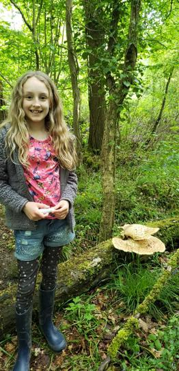 Carrie foraging mushrooms