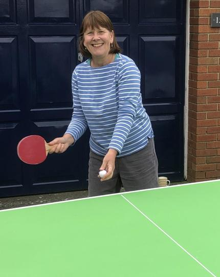 Mrs Withers practicing her table tennis!