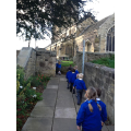 We walked to  Church for our Harvest Festival