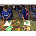 ...then we made handprint cactus art...