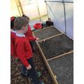 Talking to the seedlings!