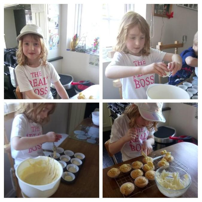 Cooking delicious cupcakes.
