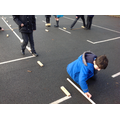 P6 outdoor learning-measuring out Viking Longships