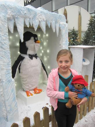 Paddington met a snowy penguin!