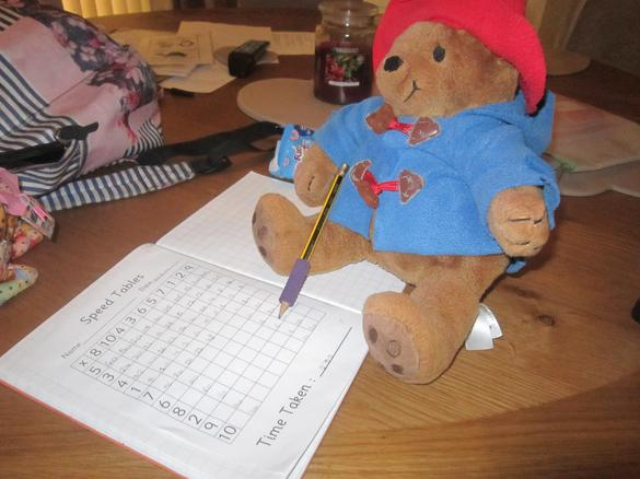 Paddington helped Violet with her speed tables!