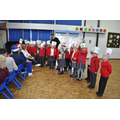 Some children sang for the kitchen and welfare