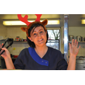 Donna from the kitchen looking festive