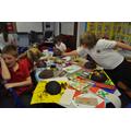 Class 7 creating Mayan masks