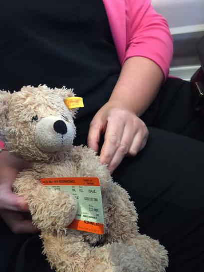 Flynn on the train with his ticket