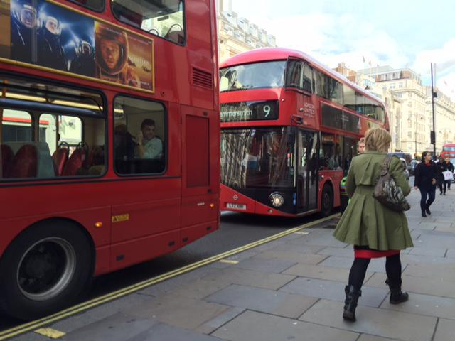 The red London buses