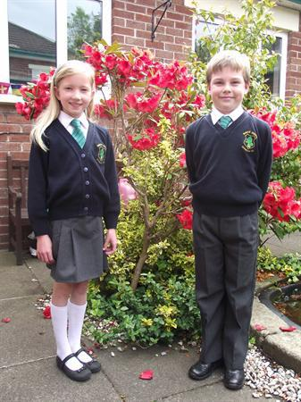Pupils modelling our school uniform