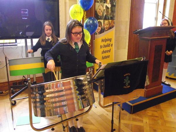 Steel drum band playing at Stormont for NICIE