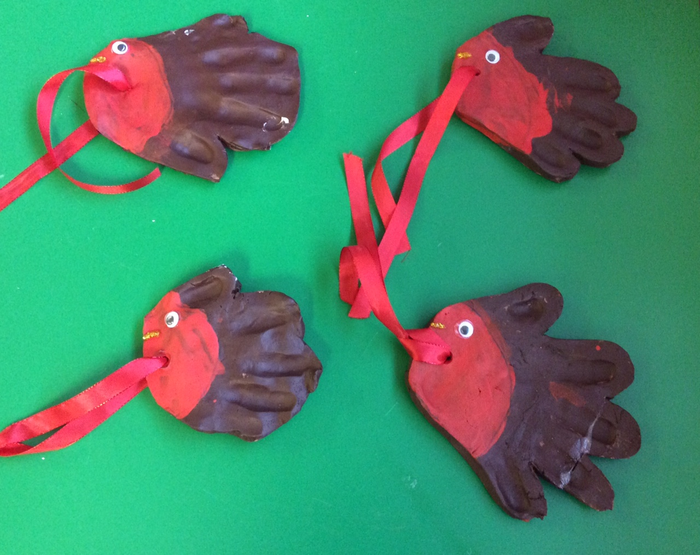 Clay handprint robins ready to fly to their new homes!