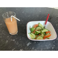 A healthy salad and smoothie by Tayyaba
