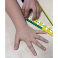 We used a ruler to measure our hands.