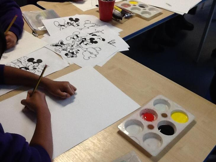 We painted pictures of Minnie and Micky Mouse.