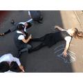 We drew around each other in the playground.