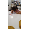 Completing daily Maths challenges-Lucy