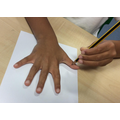 We drew around our hands.