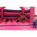 Enjoying the bouncy castle