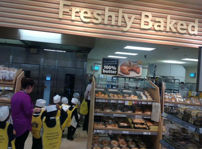 Entering the bakery