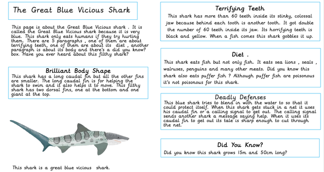 Creating non-fiction pages about sharks.