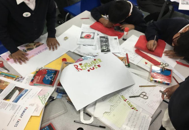 Researching and creating posters.