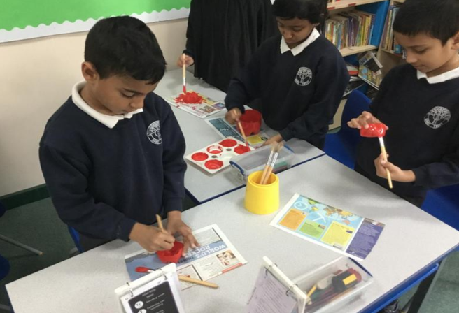 Painting poppies.