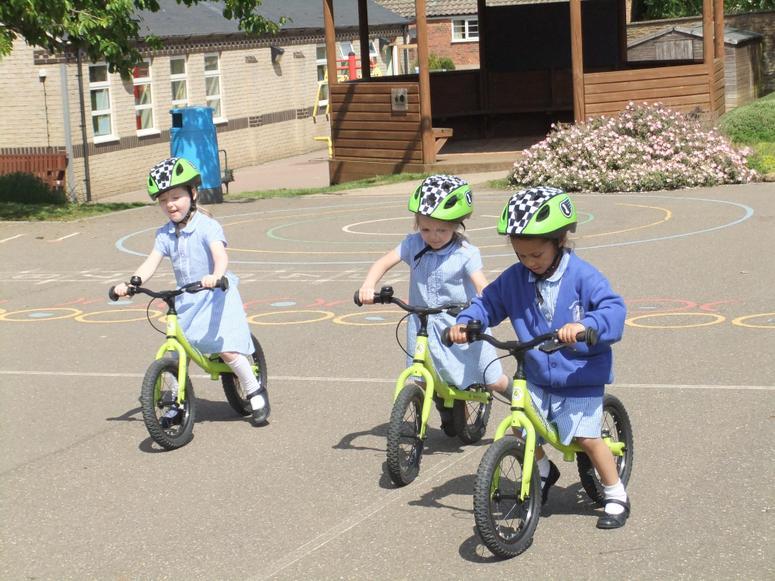 Fun on our balance bikes