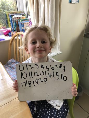 Practising writing numerals to twenty