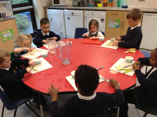 Learning to prepare fresh food during our cooking