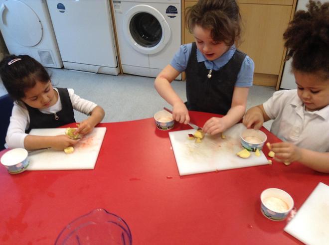 Making smoothies- we cook every week!