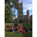 Year 5 & 6 eating lunch at Ely Cathedral.