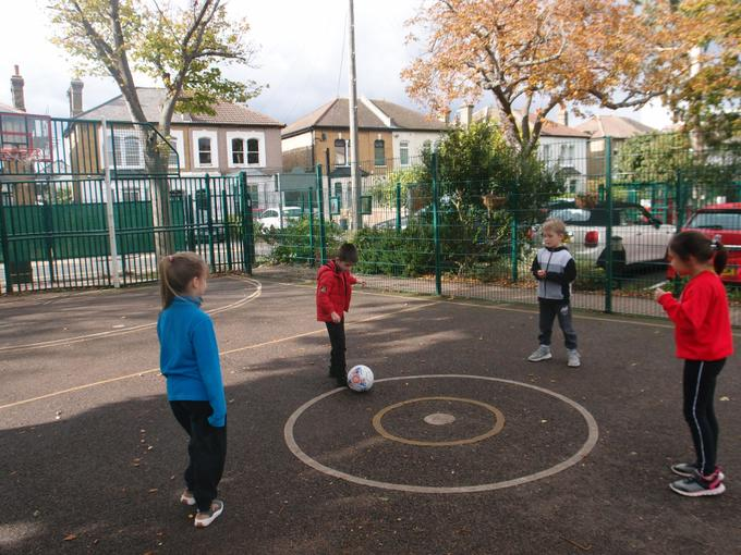 The children learnt to pass the ball